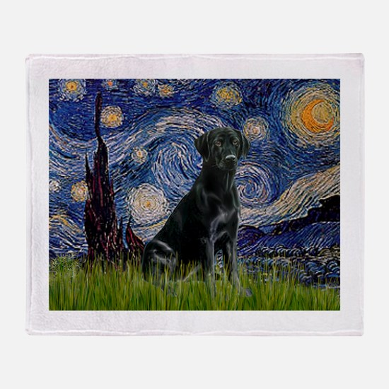 Starry Night Black Lab Throw Blanket