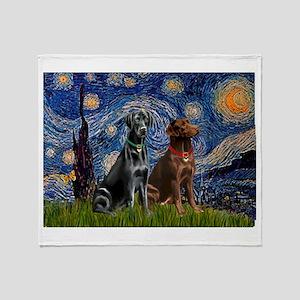 Starry / 2 Labradors (Blk+C) Throw Blanket