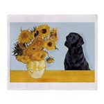Sunflowers / Lab Throw Blanket