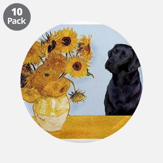 "Sunflowers / Lab 3.5"" Button (10 pack)"