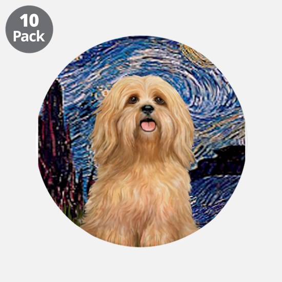 "Starry / Lhasa Apso #9 3.5"" Button (10 pack)"