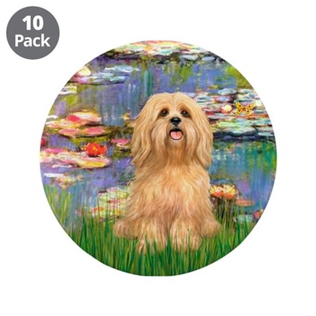 """Lilies / Lhasa Apso #9 3.5"""" Button (10 pack)"""