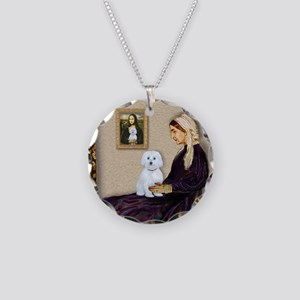 Whistlers Mom / Maltese (B) Necklace Circle Charm