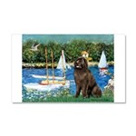 Sailboats & Newfoundland Car Magnet 20 x 12