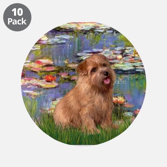 "Lilies /Norfolk Terrier 3.5"" Button (10 pack)"