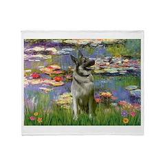 Lilies / Nor Elkhound Throw Blanket