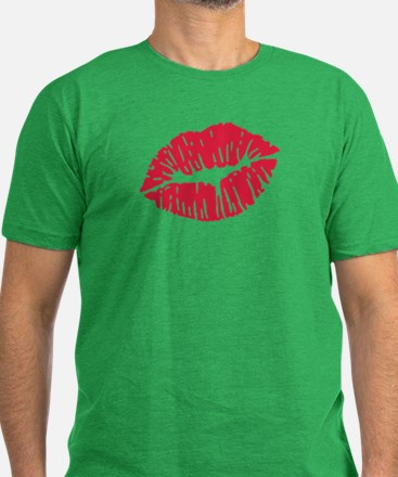 Kiss red lips Men's Fitted T-Shirt (dark)