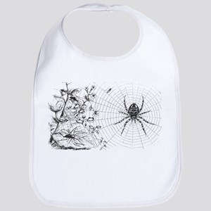 Creepy Spider Web Line Art Bib