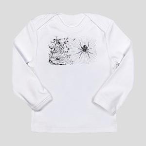 Creepy Spider Web Line Art Long Sleeve Infant T-Sh