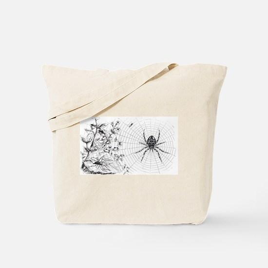 Creepy Spider Web Line Art Tote Bag