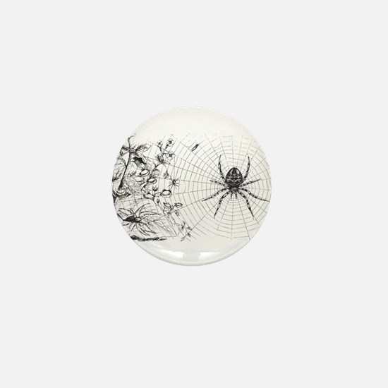 Creepy Spider Web Line Art Mini Button
