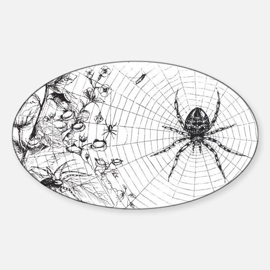 Creepy Spider Web Line Art Sticker (Oval)