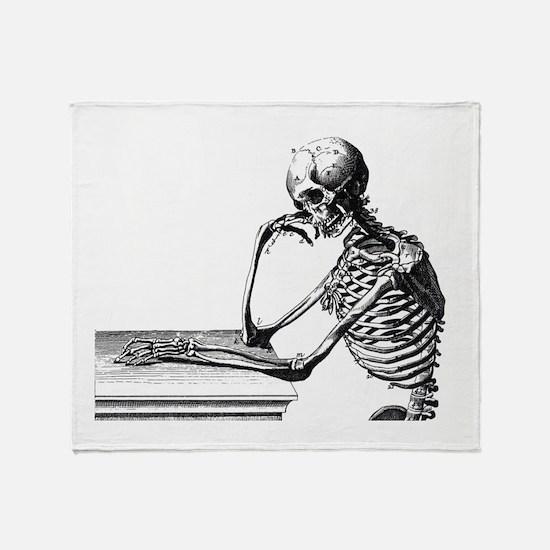 Thinking Skeleton Throw Blanket