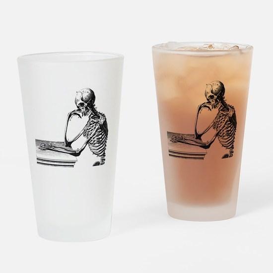 Thinking Skeleton Drinking Glass