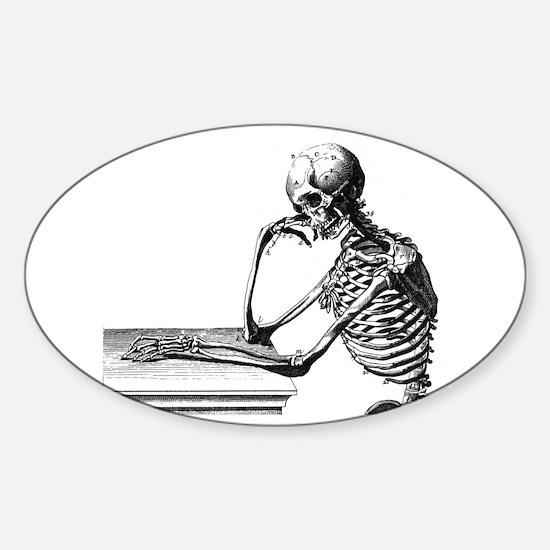 Thinking Skeleton Sticker (Oval)