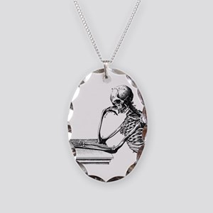 Thinking Skeleton Necklace Oval Charm