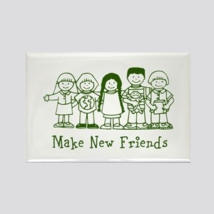 Make New Friends (green) Rectangle Magnet