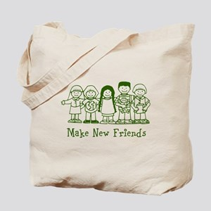 Make New Friends (green) Tote Bag