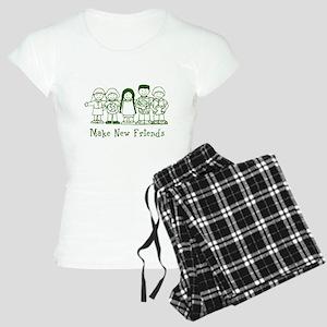 Make New Friends (green) Women's Light Pajamas