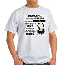 Churchill Socialism Quote Light T-Shirt