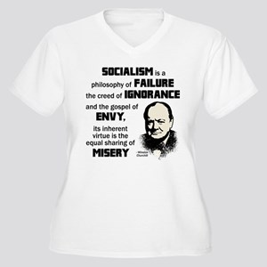 Churchill Socialism Quote Women's Plus Size V-Neck