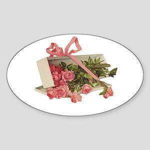 Romantic Roses Oval Sticker