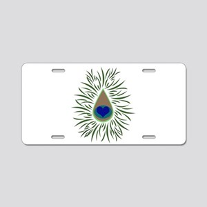 Heart Peacock Aluminum License Plate