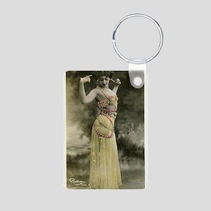 Vintage Bellydancer Yellow Aluminum Photo Keychain