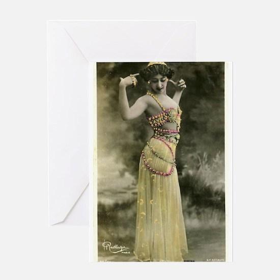 Vintage Bellydancer Yellow Greeting Card
