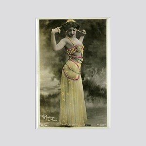 Vintage Bellydancer Yellow Rectangle Magnet
