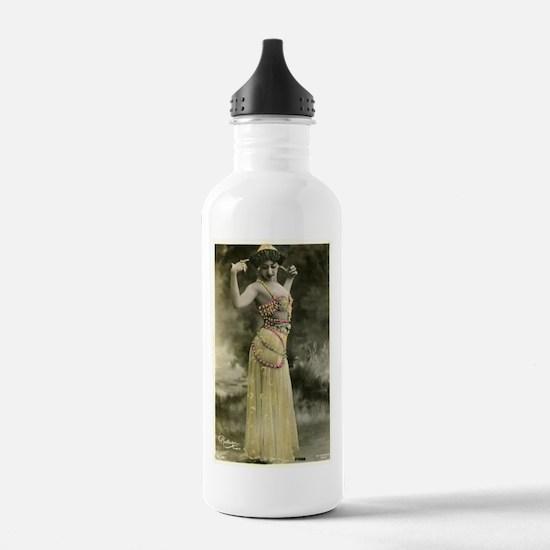 Vintage Bellydancer Yellow Water Bottle