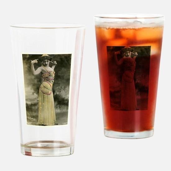 Vintage Bellydancer Yellow Drinking Glass