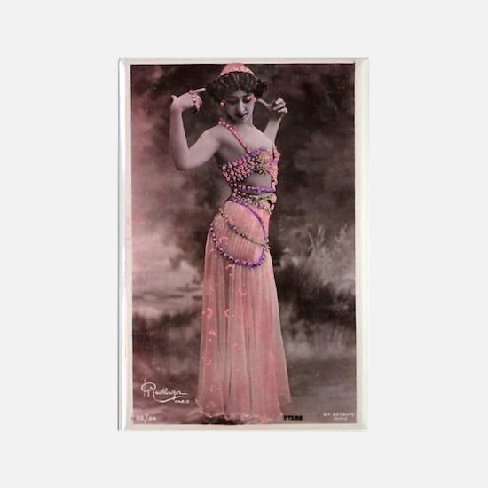 Vintage Bellydancer Pink Rectangle Magnet