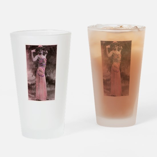 Vintage Bellydancer Pink Drinking Glass