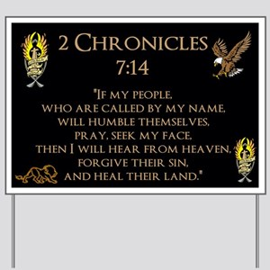 2 Chr 7:14 Gold Cross - Yard Sign