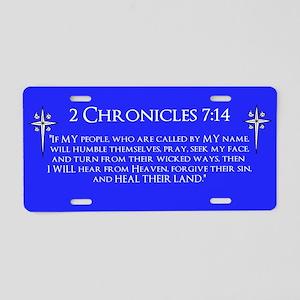 2 Chr 7:14 Cross HS Aluminum License Plate