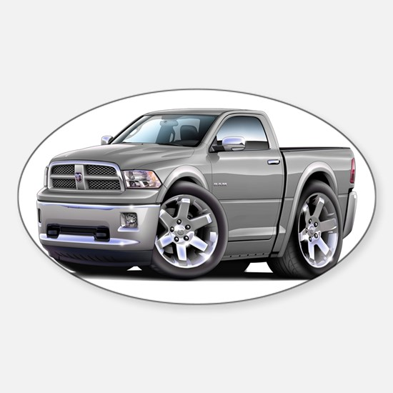 Ram Silver Truck Sticker (Oval)