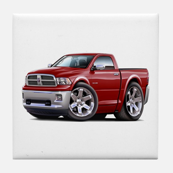 Ram Maroon Truck Tile Coaster