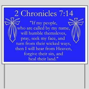 2 Chr 7:14 Cross Fish - Yard Sign