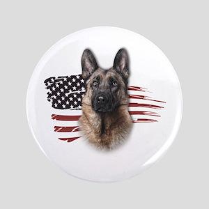 "Patriotic German Shepherd 3.5"" Button"