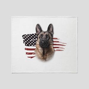 Patriotic German Shepherd Throw Blanket