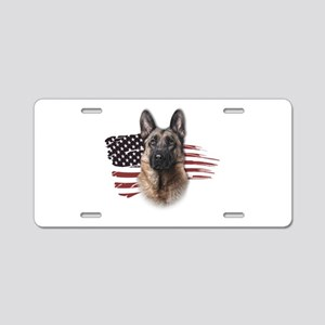 Patriotic German Shepherd Aluminum License Plate