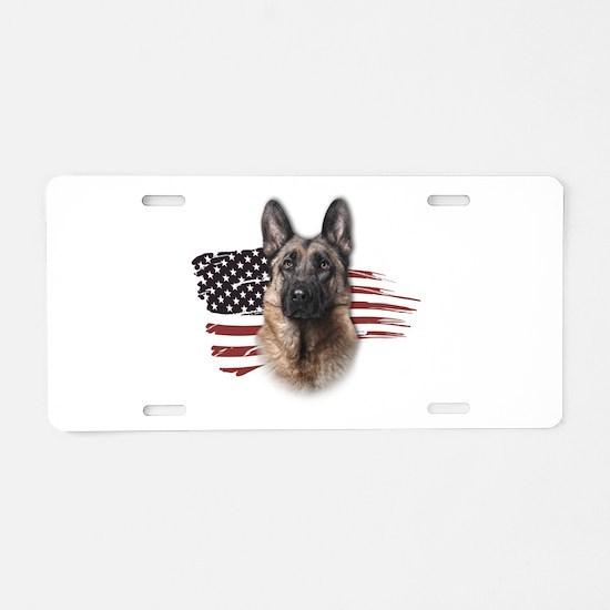Patriotic German Shepherd Aluminum License Plate