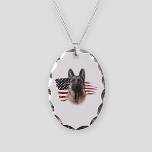 Patriotic German Shepherd Necklace Oval Charm