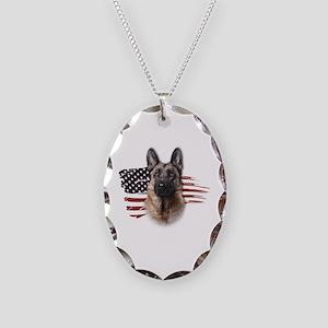 Patriotic German Shepherd Necklace Oval Charm