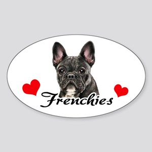 Love Frenchies - Brindle Sticker (Oval)