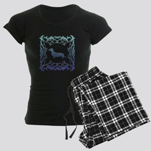 Dachshund Lattice Women's Dark Pajamas