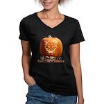 FatCat Pumpkin Women's V-Neck Dark T-Shirt