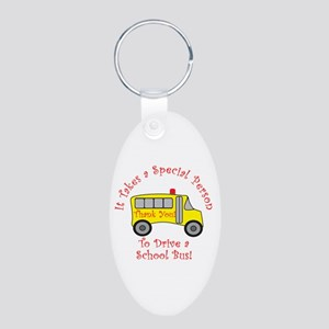 School Bus Driver Aluminum Oval Keychain