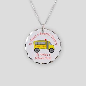 School Bus Driver Necklace Circle Charm